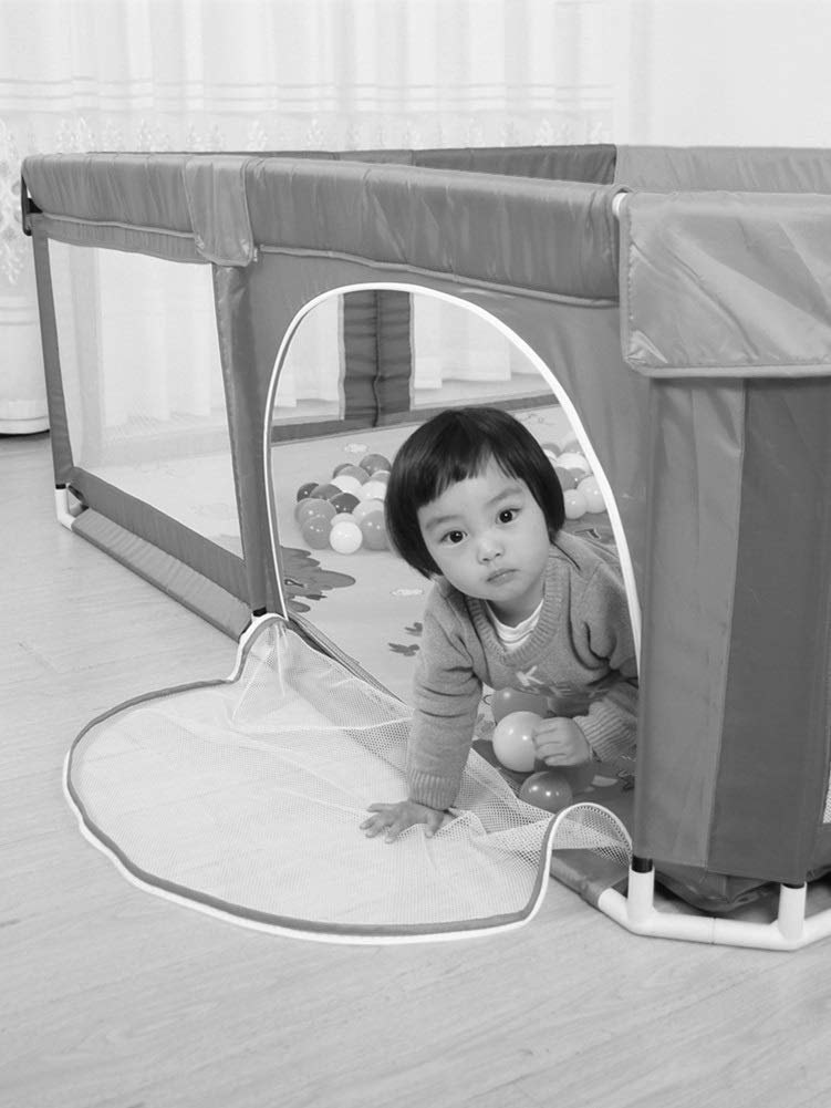 Playpens Baby, Indoor Outdoor Activity Centre Safety Game Fence, with Crawling Mat and Balls, 150×150×70cm  MMDP