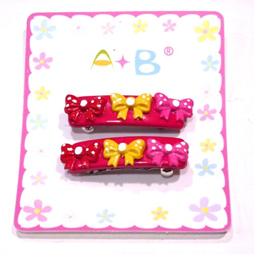 rougecaramel - Accessoires cheveux - Barrette cheveux enfant nœuds 2pcs - fuchsia