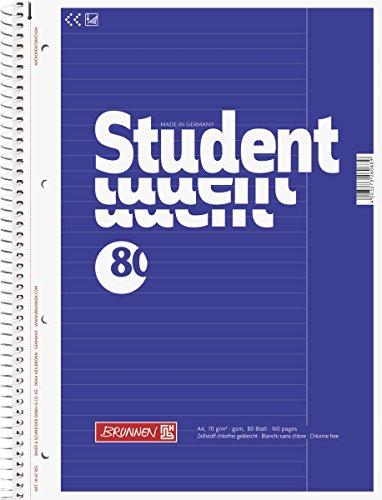 Brunnen 1067925 Notizblock / Collegeblock Student (A4, liniert, Lineatur 25, 70 g/m², 80 Blatt)