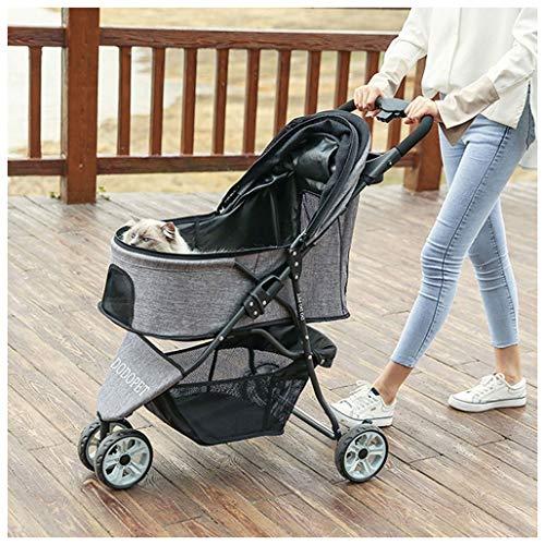 Pet 3 Wheels Travel Stroller Folding Carrier Hund Katze Kinderwagen Trolley Puppy Jogger für Reisen One-Click-Folding (Color : Gray)