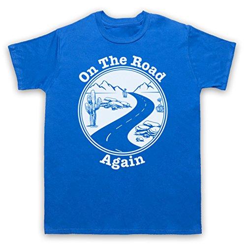 On The Road Again Travelling Touring Slogan Herren T-Shirt Blau