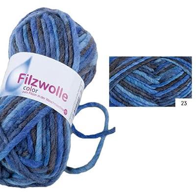Filzwolle Color, 50g, Fb. 23, Blau-Mix [Haushaltswaren] von Gründl auf Lampenhans.de