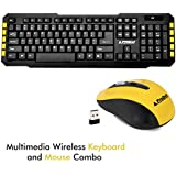 ProDot TLC-107+145 2.4Ghz Multimedia Wireless Keyboard And Mouse Combo Compact And Portable For PC, Laptop, Desktop, Android TV And Smart TV (Yellow)