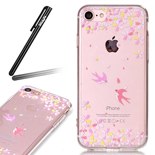Ukayfe Custodia per iPhone 7/8,UltraSlim TPU Gel Gomma Silicone Copertura Case per iPhone 7/8,Crystal Clear Skin Custodia Stilosa custodia di design Protettiva Shell Case Cover antigraffio Cover poste Deglutire