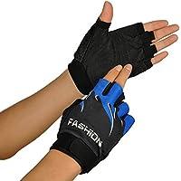 Malloom Deportes al aire libre bicicleta Ciclismo Ciclismo senderismo Gel medio dedo guantes sin dedos (azul)