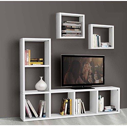 InHouse srls Ensemble Salon composé de bibliothèque Meuble TV Blanc Pore Ouvert, Style Moderne, en MDF laminé - Dim. 175 x 30 x 132 …