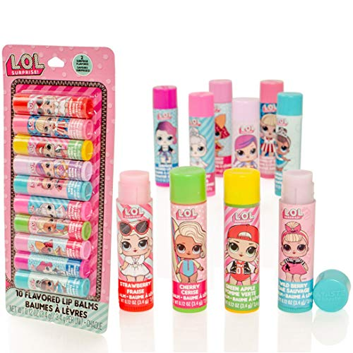 MGA Entertainment LOL Surprise 10 Pack Flavoured Lip Balm Sticks - Mädchen-Lipgloss-Set