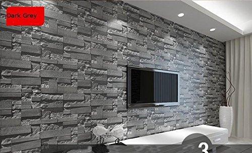 Modernes gestapelt Ziegel 3D Stein Tapete Rolle grau Stein Tapete Wand Wallpaper für Wohnzimmer PVC Vinyl Wall Paper Color_Dark Grey