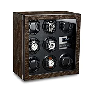 Ferocase Uhrenbeweger FC2333BK für 8 Uhren – mooreichedekor