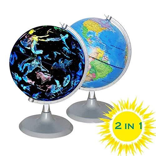 Aibote 2 in 1 Beleuchtete Weltkart & Konstellation Globus Nachtlichter für Kinder Geographie & Geschichte Lernspielzeug