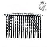 17-309 - Pettinino per capelli fianchino cm 6 metallo nero con fila strass cristallo - Pettinini per capelli Fianchini