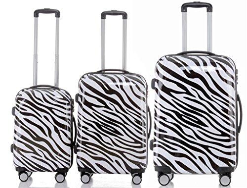 BEIBYE Reisekoffer Hartschalen Hardcase Trolley Zahlenschloss Polycarbonat SET--XL-L--M-- Beutycase (Zebra, 3er Set(XL+L+M))