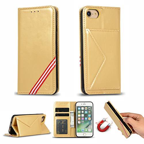 Miagon für iPhone 7/8 Hülle,Wallet Case Cover Schutzhülle und Klapp Magnetisch Flip Bumper Ledertasche Schutzhülle,Gold