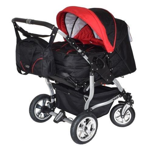 Adbor Duo 3in1 Zwillingskinderwagen mit Babyschalen - silbernes Gestell, Zwillingswagen, Zwillingsbuggy Farbe Nr. 06s schwarz/rot