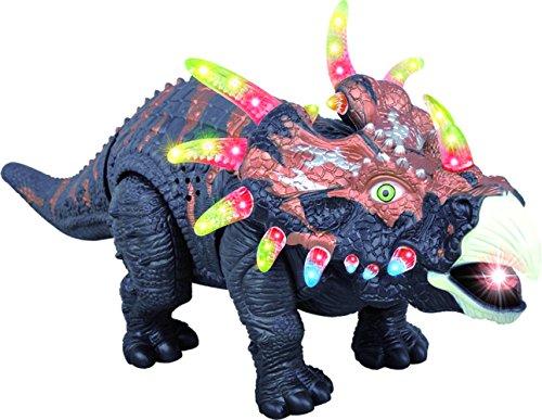 ThinkGizmos Gehender Spielzeug-Dinosaurier TG636 – Triceratops mit Gebrüll, Lichtern und Bewegung (geschützte Marke)