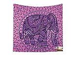 QEES Elefant Wandteppich mit Böhmischem Stil Indisch Hippie Wanddeko Wandbenhang Wandtuch Tischdecke Dekor für Schlafzimmer Wohnzimmer usw GT02 (Purple 1, 150×102cm)