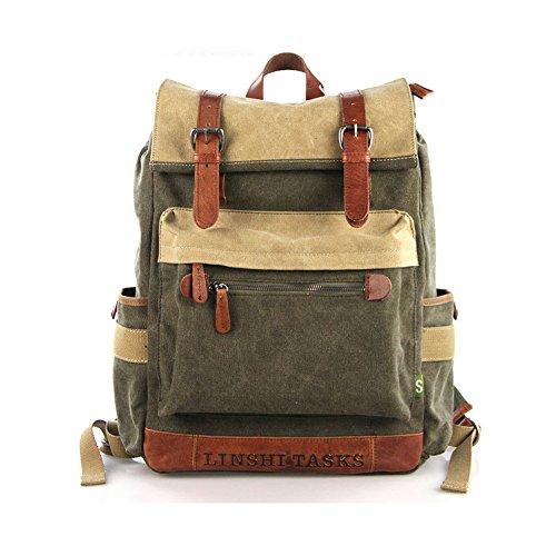 YAAGLE Retrotasche Canvas Segeltuch Taschen Rucksack Gepäck Damen und Herren Unisex Reisetasche Sporttasche Schultasche-armee-grün