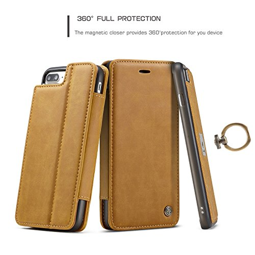 SDDMALL CaseMe Luxus abnehmbare 2 in 1 Magnetic Finger Ring Wallet Case mit Card Slot und Stand für Apple iPhone 7 Plus ( Color : Coffe ) Yellow