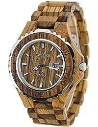Bewell ZS 100bg lujo madera reloj de pulsera cuarzo para los hombres 30m resistente al agua relojes (marrón)