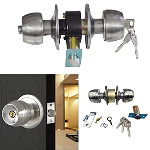 JJOnlineStore - Stainless Steel Round Ball Door Knob Lock Set Safe Lockset with 3 Keys Entrance for Bedroom Bathroom Storeroom Doors