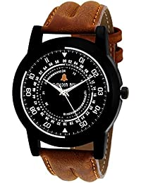 Golden Bell Original Black Dial Brown Strap Analog Wrist Watch For Men - GB-849