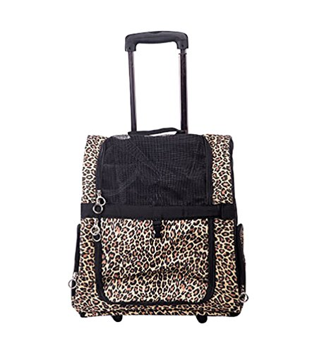 YOUJIA Pet Carrier with Wheels, Travel Carrier Bag Tote Roller Backpack trolley for Cats & Dogs, Leopard - L (42*43*23cm)