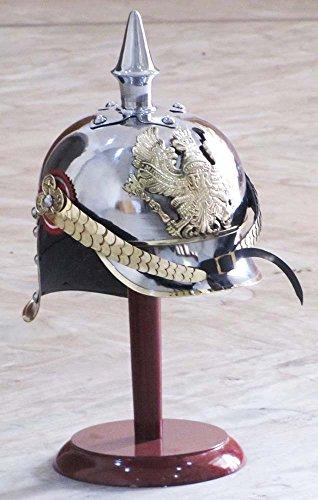 Helm Pickelhaube Kostüm - Shiv (TM Shakti Unternehmen World War I & II Pickelhaube Helm aus deutschem Stahl Messing Akzente Preußische Officer Spike Helm