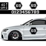 1A Style Sticker Startnummer Aufkleber Auto 40cm - Motiv 14, Hexagon Seitenaufkleber Wunsch-Nummern