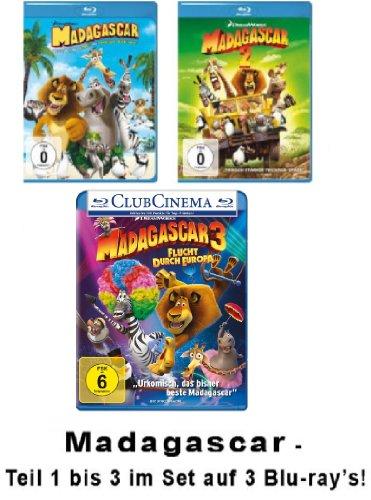 Madagascar / Madagaskar Blu-ray - 1+2+3 - Flucht durch Europa im Set [3Blu-rays] (Madagascar 2 Blu Ray)