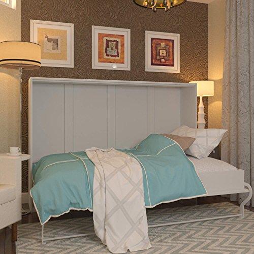Schrankbett 120x200 cm Horizontal Weiß, ideal als Gästebett - Wandbett, Schrank mit integriertem Klappbett, SMARTBett