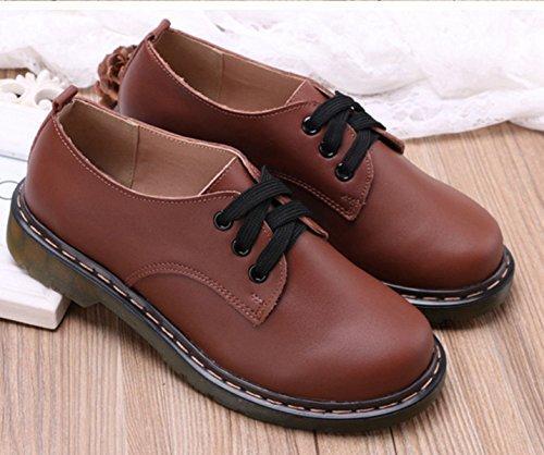 Damen Schnürhalbschuhe Rundzehen Tragen Lederschuhe Nidrige Britische Stil Bequeme Schuhe Braun