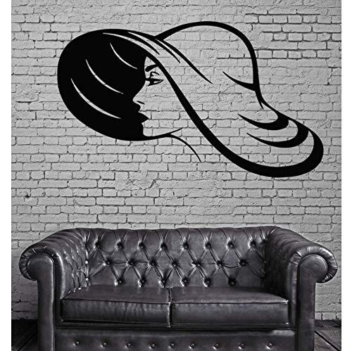 Mädchen in Hut Haar Wandaufkleber Spa Salon Wandkunst Dekor Vinyl Aufkleber Wasserdichte Wandtattoo Verkauf Wandbild 57X89 Cm