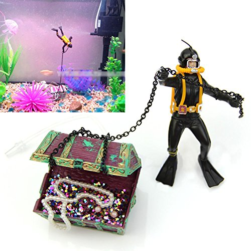 Luftpumpe 5 Aquarium Gallonen (etbotu Treasure Hunter Diver Action Figur Fisch Tank ornament Aquarium Decor Landschaft streckengeschäft)
