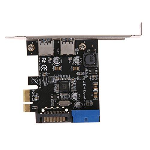 Rrimin U3V14S PCIE Transfer USB3.0 Expansion Card Desktop Front 19PIN Interface (Black 136780)