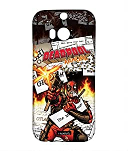 Comic Deadpool Phone Cover for HTC M8 by Block Print Company