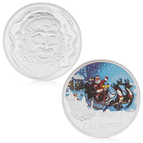 Amarzk Frohe Weihnachten Weihnachtsmann Versilbert Gedenkmünze Münze Token Kunst -
