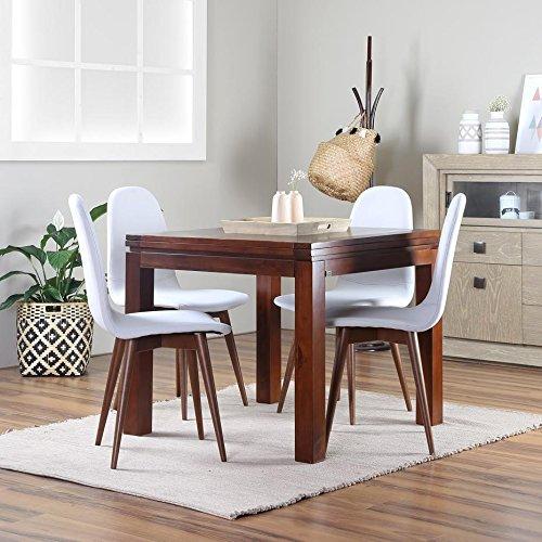 Blay Table À Rallonges 90/180 Teck - Bois - 90x90x78 cm - Couleur Teck
