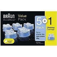 Braun Cartouches de Recharge Clean&Renew CCR, Nettoyant Pour Rasoir Pack de 5+1