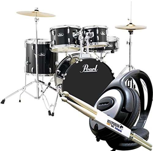 Pearl Roadshow RS505C C31 Black Drum & Drum Headphones with KEEPDRUM Drumsticks