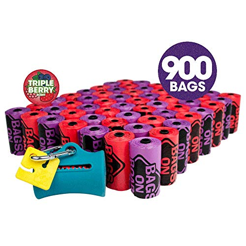 Bags on Board Odor Control Dog Poop Bags and Dispenser | Triple Berry Scent | 900 Waste Pickup Bags -