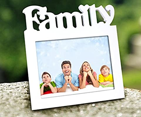 OOFYHOME Cadre 8''x6''Decorative Bois Blanc Image Photo de Wall Hanging ou une table, une ouverture (Happy And Family), 2pcs