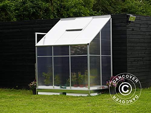 Dancover Anlehngewächshaus Polycarbonat 2,4m², 1,25×1,92×2,21m, Aluminium