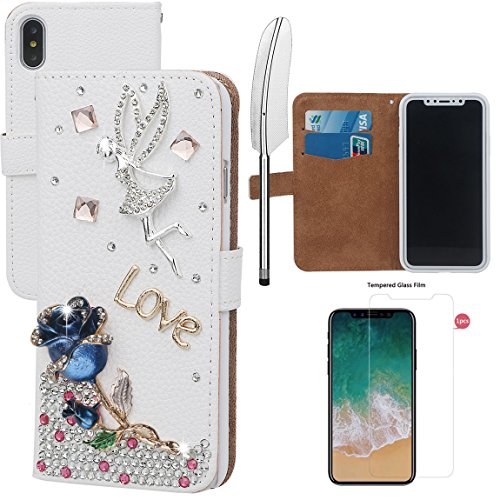 xhorizon MLK Boutique à la main Bling Glitter Housse de portefeuille Elégante et Rose Boîtier de protection en plein corps pour iPhone X / iPhone 10 (2017) avec un stylet DIY61 Blue Rose +9H Glass Tempered Film