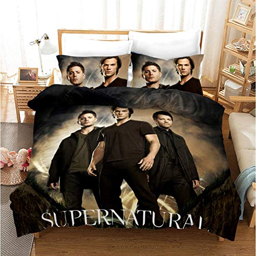 Bettwäsche Set Bettbezug Übernatürliches Cosplay Kostüm Mikrofaser Kissenbezüge Kinder Bettwäsche Bettdecke,King (Übernatürliche Kostüm)