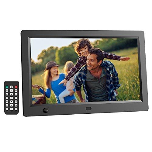 """Digitaler Bilderrahmen, LESHP 12"""" HD Widescreen Digital-Foto und HD-Video (1080p) Rahmen mit Kalendar/Uhr Funktion, MP3/Foto/Videoplayer mit Fernbedienung"""