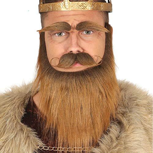 Kostüm König Barbaren - Amakando Langer Vollbart mit Oberlippenbart und Brauen zum Ankleben / Braun-Blond / Kostüm-Zubehör für Adel, Märchen, Krieger oder Mittelalter geeignet zu Fasching & Karneval