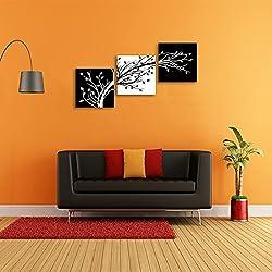 CrmOArt 3 Panneaux Fleurs Art Moderne Giclée Toile Impressions Noir et Blanc Abstrait Floral Arbres Images Mur Art Prêt à accrocher pour Salon Chambre Décoration de La Maison