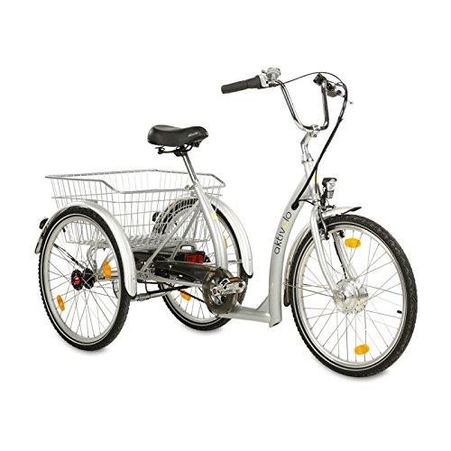 Aktivelo, triciclo elettrico, 24pollici, 7velocità, colore: argento, telaio in acciaio