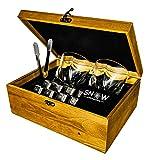 SnowCrystal Geschenk Set Edelstahl Whisky Steine wiederverwendbar, Holz Box mit 2 Gläsern und Zange 8 Cubes