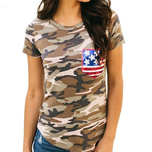Preisvergleich Produktbild BA Zha HEI Modisch Frauen Kurzarm Camouflage American Flag Elegant Damen T-Shirt Rundhals Kurzarm Ladies Sommer Oberteil Locker Weiches Material Sehr Angenehm Zu Tragen Bluse Tops (Tarnung, M)